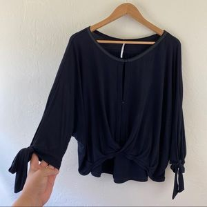 Free People Black Wide Sleeve Button Tie-up Top A2